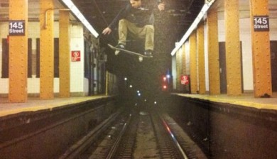 Ollieing the subway tracks in NYC