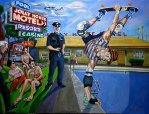 Justin Forbes - Motel Kalifornia Oil on Cancas